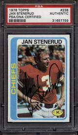 1978 Topps #238 Jan Stenerud PSA/DNA Signed Auto Chiefs