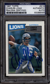 1987 Topps #318 Charles Long PSA/DNA Auto Signed Detroit Lions ROOKIE RC