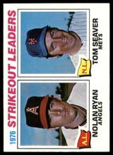 1977 Topps #6 Nolan Ryan/Tom Seaver Strikeout Leaders NM+  ID: 89805