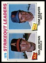 1977 Topps #6 Nolan Ryan/Tom Seaver Strikeout Leaders NM+  ID: 89806
