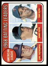1969 Topps #1 Carl Yastrzemski/Danny Cater/Tony Oliva A.L. Batting Leaders EX++ Excellent++