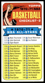 1970-71 Topps #101a Checklist 111-175 EX++ Excellent++ Marked