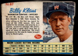 1962 Post Cereal #67 Billy Klaus Good  ID: 144229