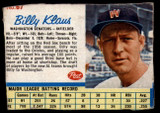 1962 Post Cereal #67 Billy Klaus Poor  ID: 144235