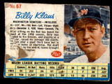 1962 Post Cereal #67 Billy Klaus Poor  ID: 183447
