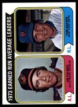 1974 Topps #206 Jim Palmer/Tom Seaver LL ERA Leaders NM-MT