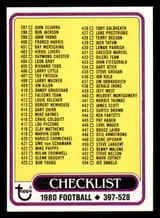 1980 Topps #509 Checklist 397-528 Near Mint