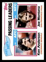 1982 Topps #257 Ken Anderson/Joe Montana 1981 Passing Leaders Excellent+