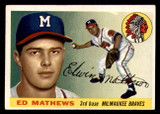 1955 Topps #155 Eddie Mathews Excellent+  ID: 302034