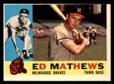 1960 Topps #420 Eddie Mathews Miscut