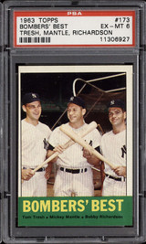 1963 Topps #173 Tom Tresh/Mickey Mantle/Bobby Richardson Bombers' Best PSA 6 EX-Mint