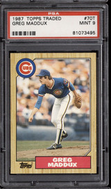 1987 Topps Traded #70 Greg Maddux PSA 9 Mint RC Rookie  ID: 302314
