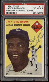 1954 Topps #10 Jackie Robinson Signed Auto PSA/DNA Brooklyn Dodgers