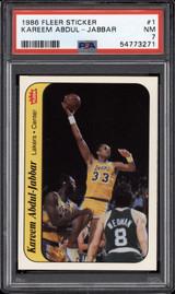 1986-87 Fleer Sticker #1 Kareem Abdul-Jabbar PSA 7 Near Mint Lakers Just Graded