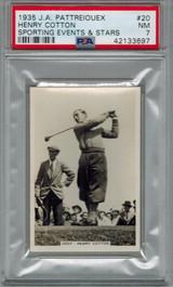 1935 J.A. Pattreiouex Sporting Event Stars #20  Henry Cotton  Golf   PSA  7 NM   #*