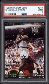 1992-93 Stadium Club #247 Shaquille O'Neal PSA 9 Mint RC Rookie Shaq  ID: 282118