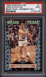 1992-93 Stadium Club Beam Team Members Only #bt11 John Stockton PSA 9 Mint  ID: 151729