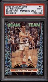 1992-93 Stadium Club Beam Team Members Only #bt11 John Stockton PSA 9 Mint  ID: 151728