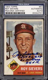 1953 Topps #67 Roy Sievers DP PSA DNA Signed Auto