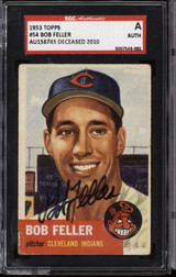 1953 Topps #54 Bob Feller DP SGC Authentic Auto Signed