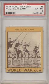 1933 World War Gum R174 #5 Practice At Camp PSA 6 EX-MT  #*