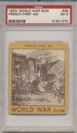 1933 World War Gum R174 #38 French First Aid PSA 5 EX  #*