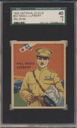 1934 Sky Birds #22 Major Rauol Lufbery SGC 40 VG 3  #*