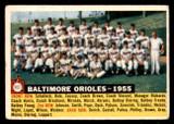 1956 Topps #100B Baltimore Orioles White Backs Very Good Date 1955