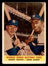 1958 Topps #418 Mickey Mantle/Hank Aaron World Series Batting Foes Very Good  ID: 308715