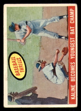 1959 Topps #463 Al Kaline Kaline Becomes Youngest Bat Champ Writing on Back