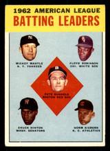 1963 Topps #2 Runnels/Mantle/Robinson/Hinton/Siebern AL Batting Leaders Excellent+  ID: 308888