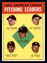 1963 Topps #8 Terry/Donovan/Herbert/Pascual/Bunning AL Pitching Leaders Excellent+  ID: 308890