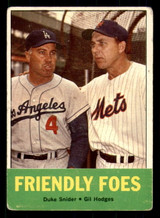 1963 Topps #68 Duke Snider/Gil Hodges Friendly Foes Very Good  ID: 308893