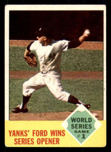 1963 Topps #142 World Series Game 1 Yanks' Ford Wins Series Opener Very Good  ID: 308897