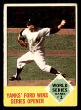 1963 Topps #142 World Series Game 1 Yanks' Ford Wins Series Opener Very Good  ID: 308898