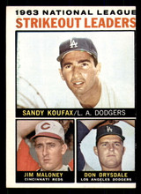 1964 Topps #5 Sandy Koufax/Jim Maloney/Don Drysdale NL Strikeout Leaders Miscut  ID: 308916