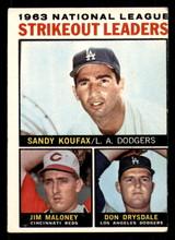 1964 Topps #5 Sandy Koufax/Jim Maloney/Don Drysdale NL Strikeout Leaders Miscut  ID: 308917
