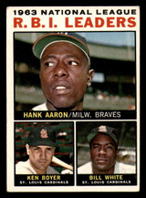 1964 Topps #11 Hank Aaron/Ken Boyer/Bill White NL R.B.I. Leaders Excellent  ID: 308924
