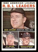 1964 Topps #12 Dick Stuart/Al Kaline/Harmon Killebrew AL R.B.I. Leaders Ex-Mint  ID: 308927