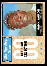 1968 Topps #370 Hank Aaron AS Very Good  ID: 309057