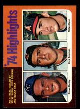 1975 Topps #7 Steve Busby/Dick Bosman/Nolan Ryan HL Ex-Mint  ID: 309189