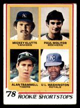 1978 Topps #707 Mickey Klutts/Paul Molitor/Alan Trammell/U.L. Washington Rookie Shortstops Very Good RC Rookie  ID: 309244
