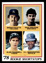 1978 Topps #707 Mickey Klutts/Paul Molitor/Alan Trammell/U.L. Washington Rookie Shortstops Excellent+ RC Rookie  ID: 309245