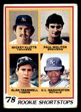 1978 Topps #707 Mickey Klutts/Paul Molitor/Alan Trammell/U.L. Washington Rookie Shortstops Good RC Rookie