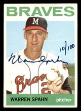 1964 Topps #400 Warren Spahn Buy Back Auto Signed 10/100 Braves