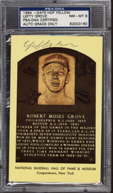 Lefty Grove Yellow HOF Plaque Postcard Signed Auto PSA DNA Slabbed Red Sox