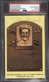 Stan Musial Yellow HOF Plaque Postcard Signed Auto PSA DNA Slabbed Cardinals