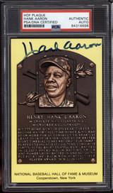 Hank Aaron Yellow HOF Plaque Postcard Signed Auto PSA DNA Slabbed Braves ID: 310565
