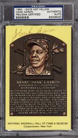 Hank Aaron Yellow HOF Plaque Postcard Signed Auto PSA DNA Slabbed braves ID: 310566