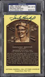 Sandy Koufax Yellow HOF Plaque Postcard Signed Auto PSA DNA Dodgers 1964 PSA 8